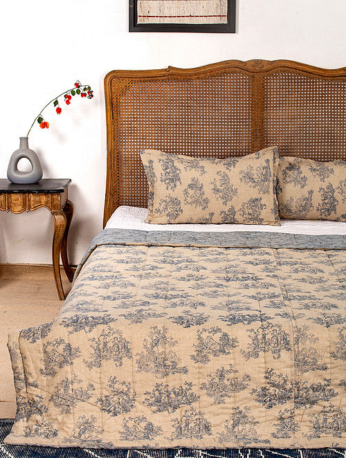 Contrast Living Jonesh Reversible Cotton Rotary Printed Double Bed Quilt with 2 Pillow Covers