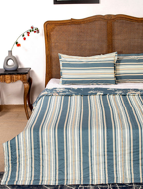 Contrast Living Paorie Reversible Cotton Rotary Printed Double Bed Quilt with 2 Pillow Covers