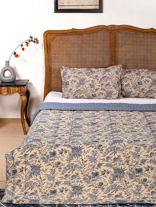 Contrast Living Mulie Reversible Cotton Rotary Printed Double Bed Quilt with 2 Pillow Covers