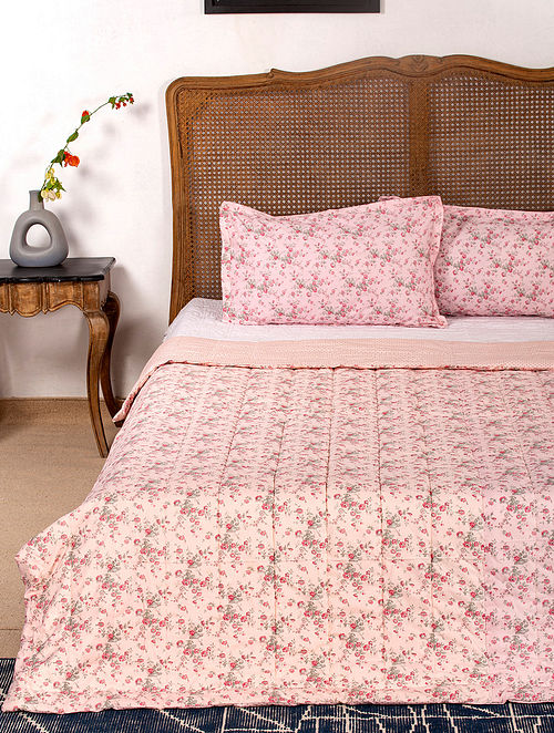 Contrast Living Brinji Reversible Cotton Rotary Printed Double Bed Quilt with 2 Pillow Covers