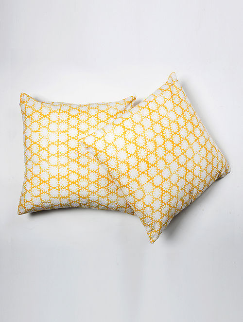 Contrast Living Rimesh Cotton Printed Cushion Covers (Set of 2) (20in x 20in)