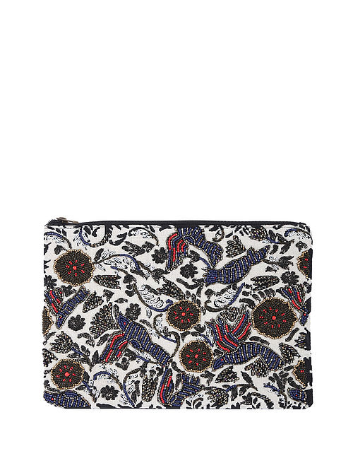Multicolored Handcrafted Suede Leather Clutch