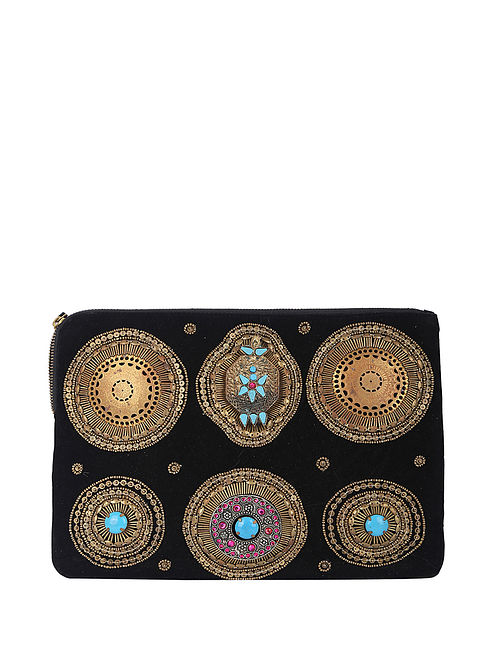 Black Handcrafted Suede Leather Clutch