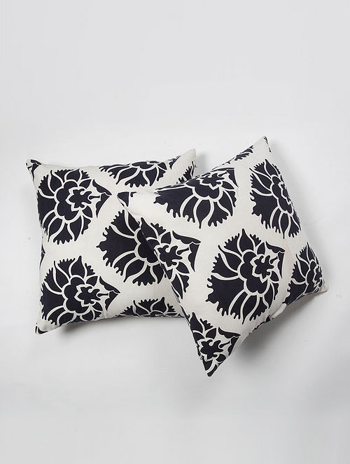 Contrast Living Kishores Cotton Printed Cushion Covers (Set of 2) (20in x 20in)