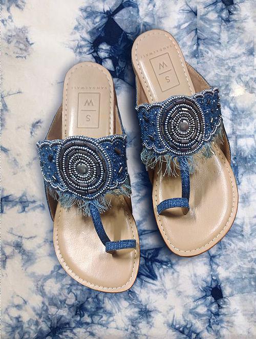 Blue Handcrafted Leather Kolhapuri Flats