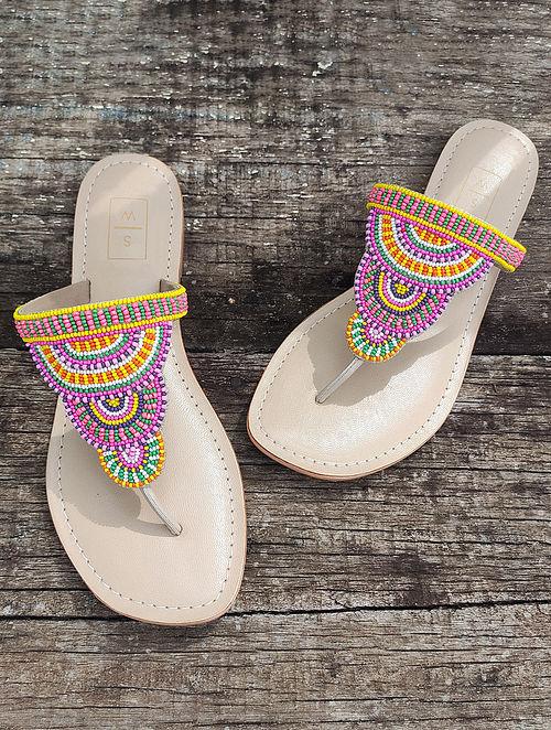 Multicolored Handcrafted Leather Kolhapuri Flats