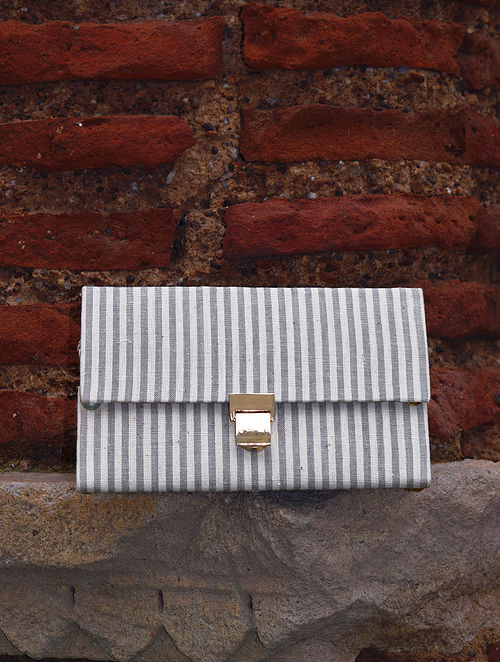 Grey White Handcrafted Cotton Sling Bag