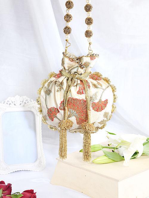 White Hand Embroidered Raw Silk Potli