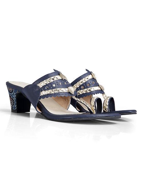 Blue Handcrafted Faux Leather Kolhapuri Block Heels