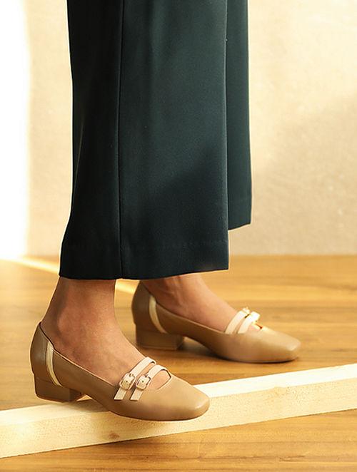 Nude Ivory Handcrafted Genuine Leather Block Heels