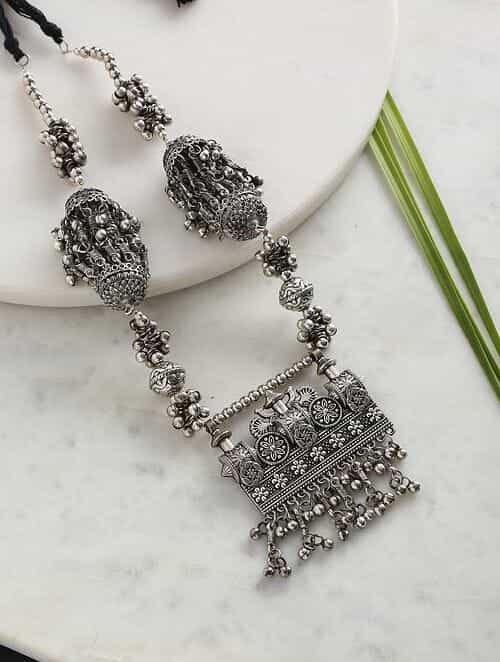 Silver Tone Tribal Afghani Necklace
