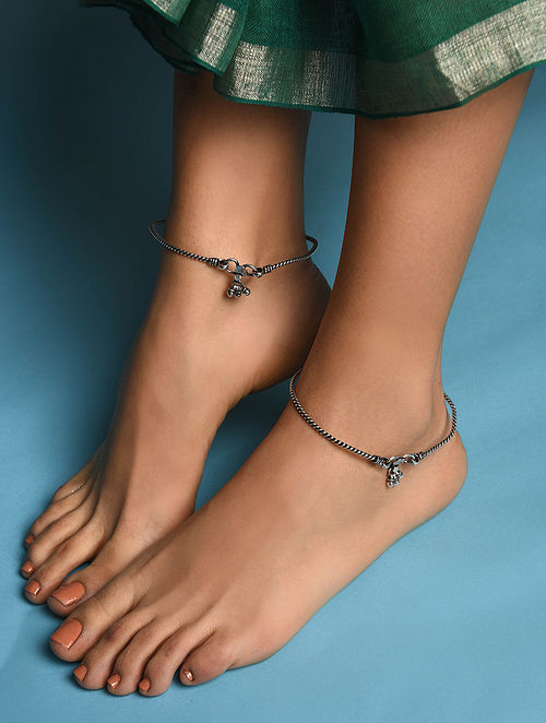Tribal Silver Anklet (Pair of two)