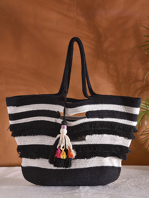Black Off White Handcrafted Jacquard Tote Bag