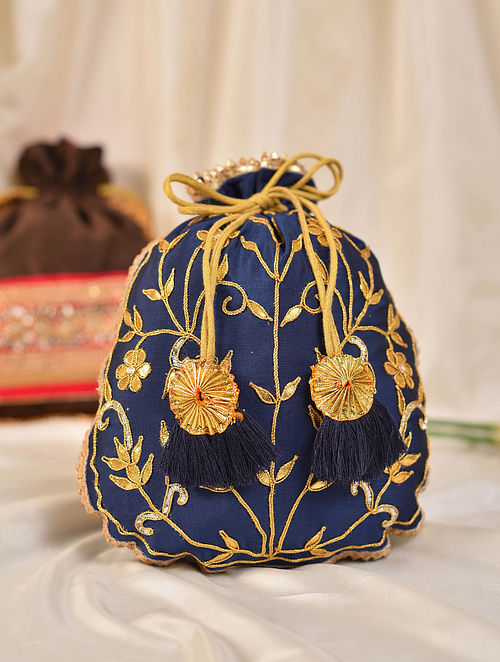 Navy Blue Handcrafted Silk Potli