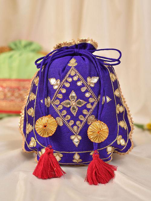 Purple Handcrafted Silk Potli