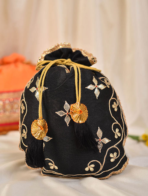 Black Handcrafted Silk Potli