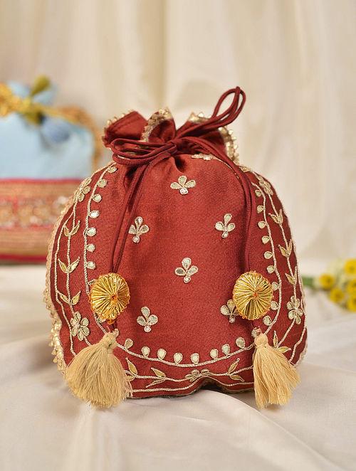 Maroon Handcrafted Silk Potli
