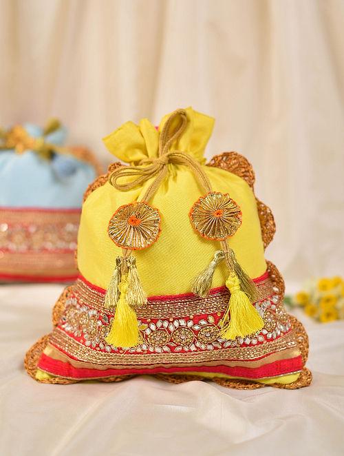 Yellow Handcrafted Silk Potli