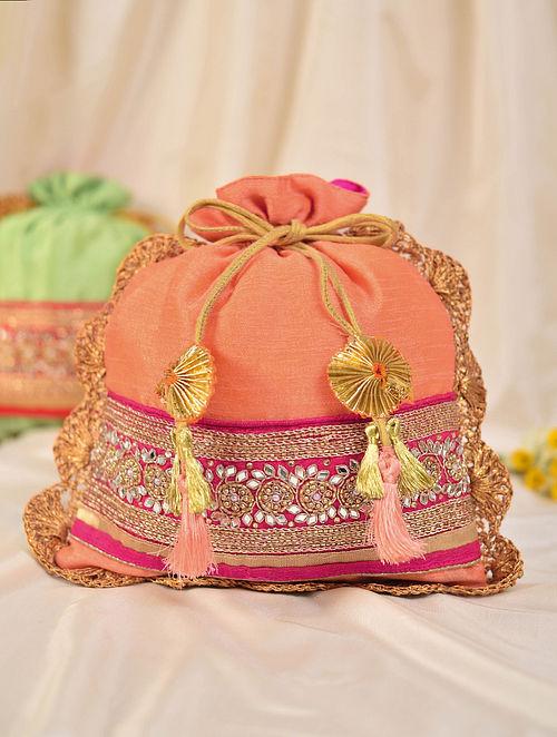 Peach Handcrafted Silk Potli