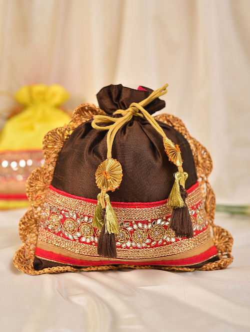 Brown Handcrafted Silk Potli