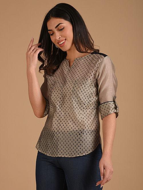 Beige and Black Block Printed Chanderi Shirt
