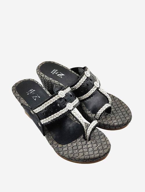 Black Handcrafted Leather Kolhapuri Wedges