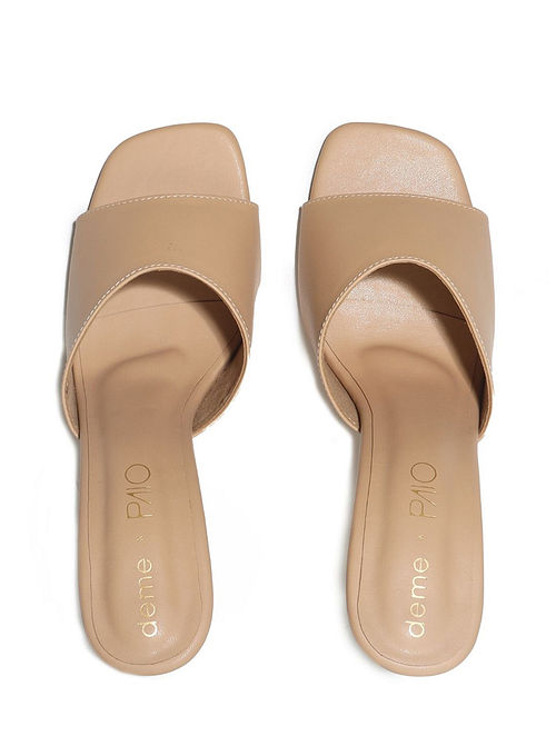 Beige Handcrafted Faux Leather Pencil Heels