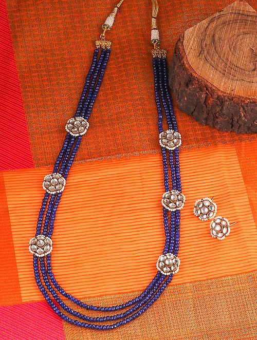 Blue Gold Tone Kundan Beaded Necklace And Earrings