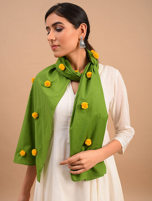 Green Handmade Embroidered  Cotton Scarf
