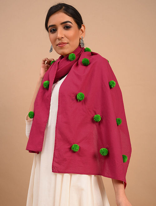 Pink Handmade Embroidered  Cotton Scarf