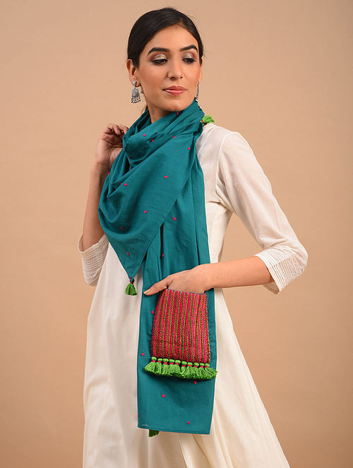 Blue Handmade Embroidered  Cotton Scarf