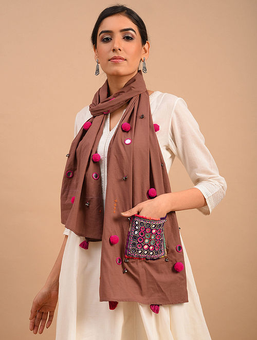 Brown Handmade Embroidered  Cotton Scarf