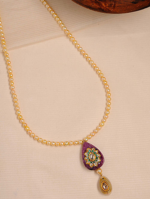 Gold Polki Ruby Necklace with Pearls