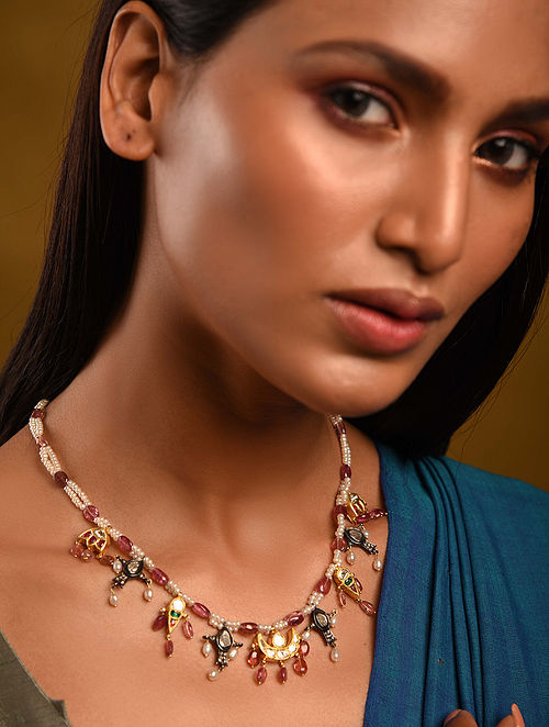 Gold Polki Tourmaline Emerald Necklace with Pearls