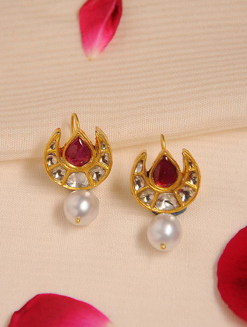 Gold Polki Ruby Earrings with Pearls