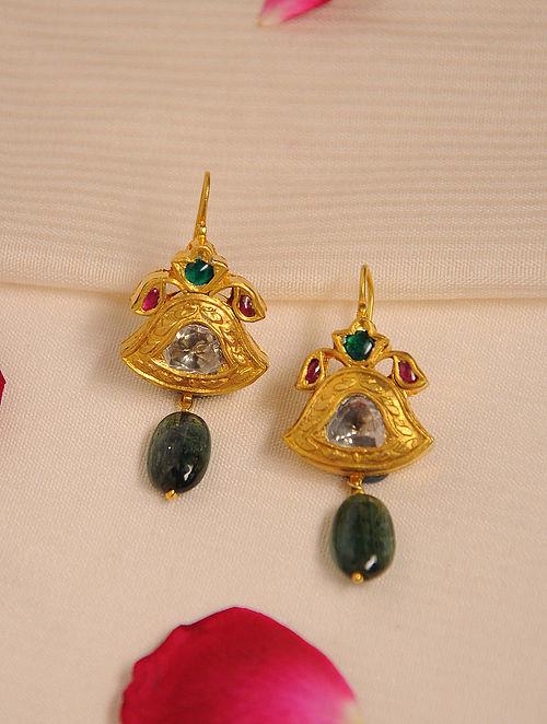 Gold Polki Emerald Earrings