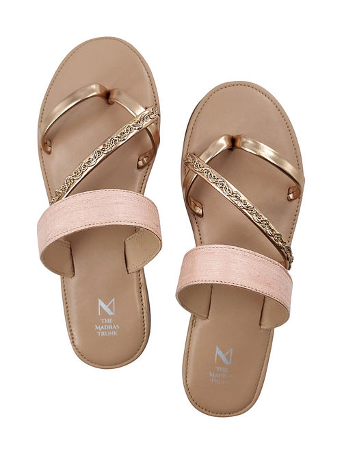 Pink Handcrafted Raw Silk Leather Flats