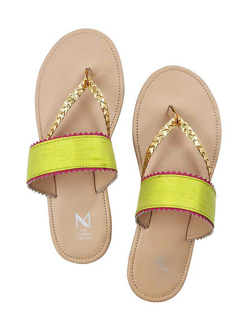 Green Handcrafted Raw Silk Leather Flats