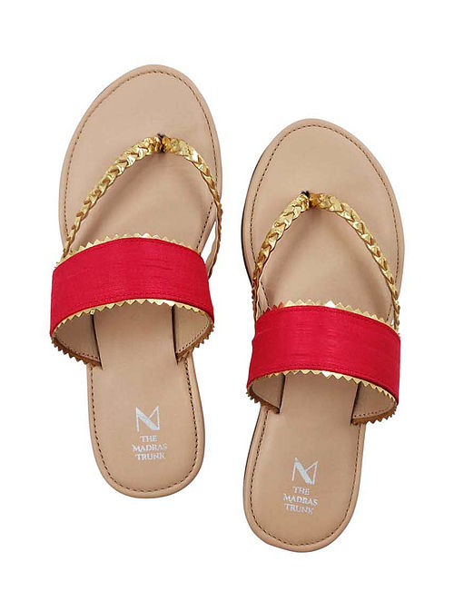 Red Handcrafted Raw Silk Leather Flats