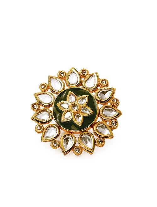 Green Gold Tone Kundan Enameled Ring