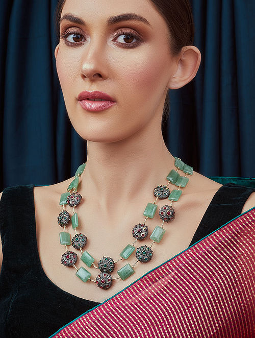 Green Black Beaded Necklace with Jade