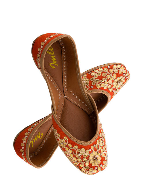 Orange Handcrafted Suede Leather Juttis