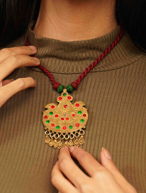 Green Maroon Gold Tone Tribal Necklace