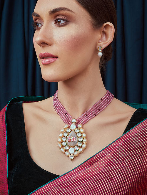 Pink Gold Tone Kundan Beaded Necklace and Earrings with agate