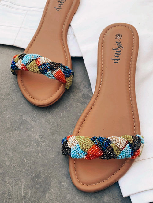 Multicolored Handcrafted Vegan Leather Flats