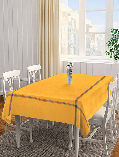 Yellow Solid Rectangle Cotton Table Cover (L-90in, W-60 in)