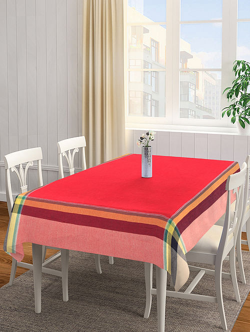 Red Solid Rectangle Cotton Table Cover (L-90in, W-60 in)