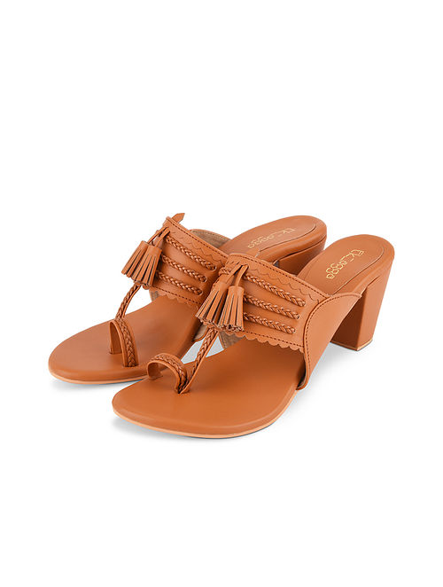 Tan Handcrafted Leather Kolhapuri Block Heels