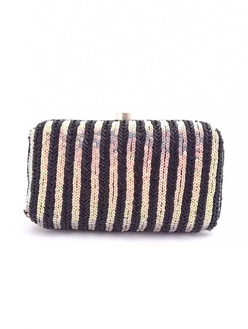 Black Handcrafted Sequined Silk Clutch