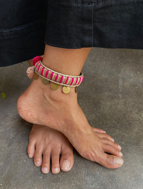 Pink White Gold Tone Handcrafted Anklet